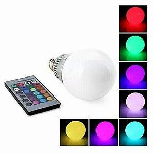 Lâmpada Bulbo 3W  LED RGB c/ Controle - Bivolt