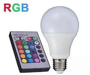 Lâmpada Bulbo 5W LED RGB c/ Controle - Bivolt