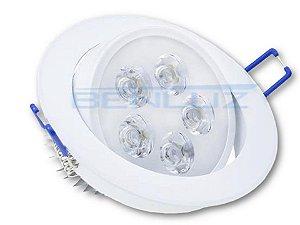 Spot de LED 5W Redondo de Embutir - Direcionável Bivolt