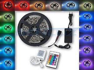 Kit Fita LED 5050 -  RGB  c/ Controle e Fonte -  3A