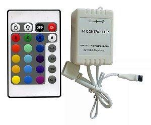 Controle para Fita de LED RGB 16 cores e 6 funções - 12v