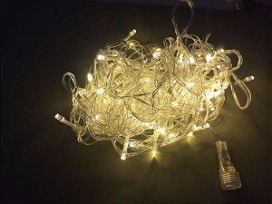 Cordão Fixo 100 LEDs - Branco Quente - 10 Metros fio transparente - (M/F) - 220v