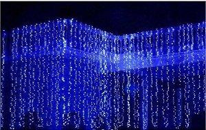 Cortina Fixa 300 LEDs - Luz Azul - (M/F) - 110V