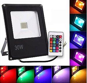 Refletor Holofote LED 30W RGB IP65 Bivolt c/16 Cores e 6 Funções
