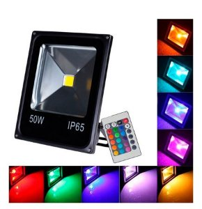 Refletor Holofote LED 50W RGB IP65 Bivolt c/16 Cores e 6 Funções