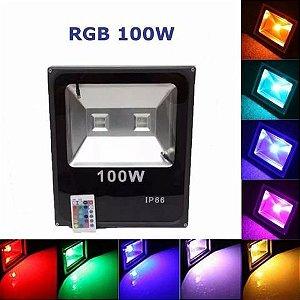 Refletor Holofote Led 100W RGB IP66 Bivolt c/ Controle Remoto c/ 16 Cores e 6 Funções