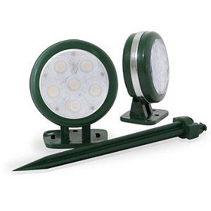 Spot de Embutir no Solo Com Opção para Espeto- Luz Azul - Moldura Verde