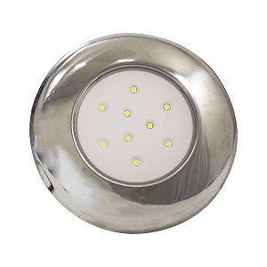 Luminária Para Piscina 9W -  Branco Quente - 125MM - Cromado