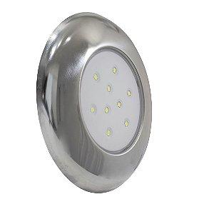 Luminária Para Piscina 18W -  Branco Quente - 125MM - Cromado