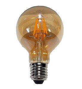 Lâmpada Bulbo de Filamento de LED - G80 6w Branco Quente Bivolt
