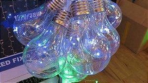 Cordão com 10 Lâmpadas de LED bulbo -  5 Metros - Branco Frio