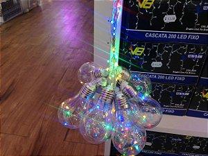 Cordão com 10 Lâmpadas de LED bulbo -  5 Metros - Colorido - RGBY