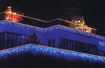 Cascata Fixa com 100 LEDs - Fio Branco 110V - Azul