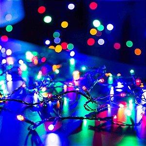 Pisca Pisca  Colorido 100Leds -Com 8 Funções - Fio Verde 120V