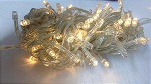 Pisca Com 100 Leds - 8 Funções - Cordão Branco - 127 - Branco Quente
