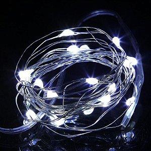 Cordão de Cobre 30 LEDs Fio de Fada 3 metros Branco Frio Pilha