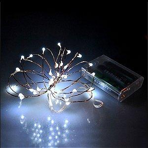Cordão de Cobre 50 LEDs Fio de Fada Branco Frio 5 metros - Pilha