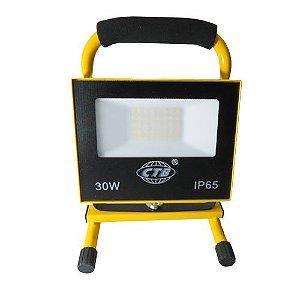Refletor LED Recarregável 30W - Branco Frio