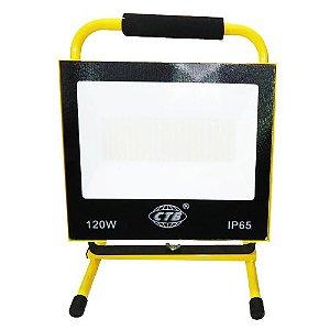 Refletor LED Recarregável 120W - Branco Frio
