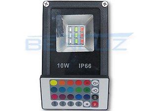Refletor Holofote De LED 10W RGB c/Controle