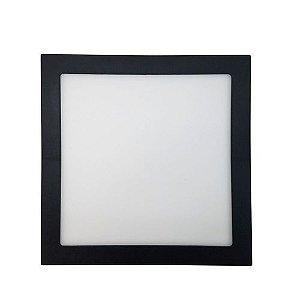 Painel Plafon LED 18W Quadrado de Embutir 22x22 Borda Preta Branco Frio