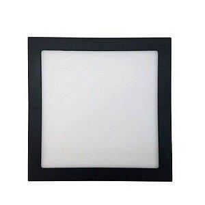 Painel Plafon LED 18W Quadrado de Embutir 22x22 Borda Preta Branco Quente
