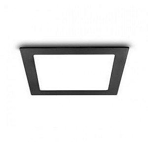 Painel Plafon LED 32W Quadrado de Embutir 40x40 Borda Preta Branco Frio