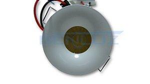 Micro Spot LED 3W Redondo Fixo de Embutir SMD - Branco Frio