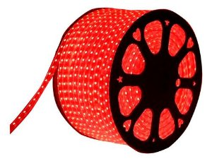 Mangueira Chata De LED 5050 Rolo com 100 Metros Vermelho