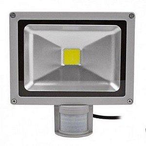Refletor Holofote de LED 50W - c/Sensor de Presença - Branco Frio