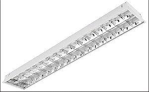 Luminária Comercial de Embutir LED c/Aletas - 2 x 18w ou 2 x 32 36 40 w T8 / T10