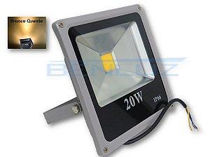 Refletor Holofote de LED 20W Cinza - Branco Quente A Prova d'água