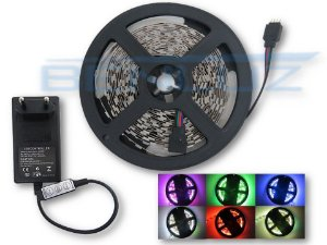 Kit de Fita LED 5050 RGB 5M 12V sem Silicone + Fonte controle manual