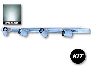 𝐊𝐈𝐓 - 4 Spots 7W Branco + 1 Trilho de 1 Metro - Branco Frio