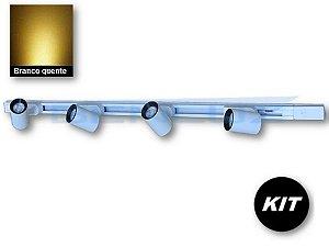 𝐊𝐈𝐓 - 4 Spots 7W Branco + trilho de 1 Metro - Branco Quente