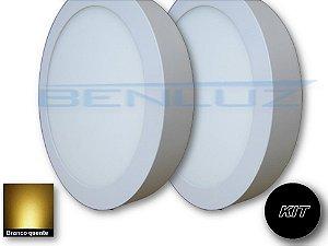 𝐊𝐈𝐓 - Luminária 2 Plafons LED 20W 22x22 Redondo De Sobrepor Branco Quente