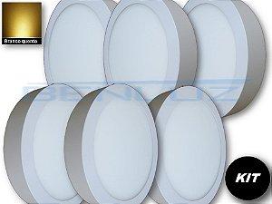 𝐊𝐈𝐓 - Luminária 6 Plafons LED 20W 22x22 Redondo De Sobrepor Branco Quente