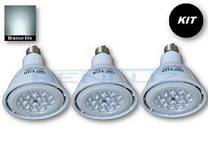 𝐊𝐈𝐓 - 3 Lâmpada LED PAR30 12W - Branco Frio Bivolt