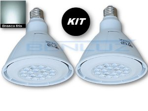 𝐊𝐈𝐓 com 2 Lâmpadas LED PAR38 18W Branco Frio Bivolt
