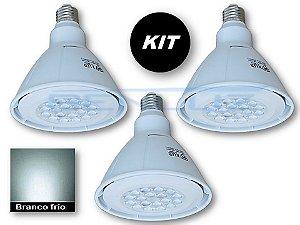 𝐊𝐈𝐓 - 3 Lâmpada LED PAR38 18W  - Branco Frio Bivolt