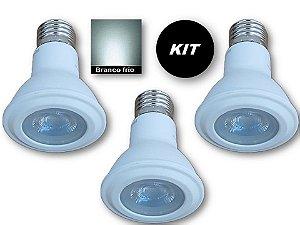 𝐊𝐈𝐓 com 3 Lâmpadas LED PAR20 7W  - Branco Frio - Bivolt