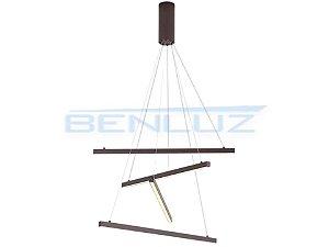 Pendente 66×120cm Acrilico Marrom LED 48W 3000k Bivolt