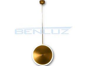 Pendente 20×150cm Dourado Fosco Aluminio+acrilico LED 7W 3000k Bivolt