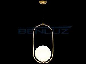 Pendente 26×50cm Dourado Branco Vidro E27
