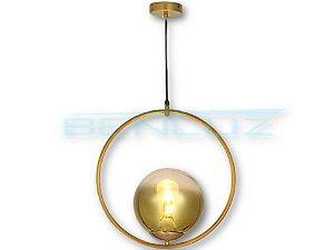 Pendente Φ40×120cm Dourado Metal+vidro Dourado E27