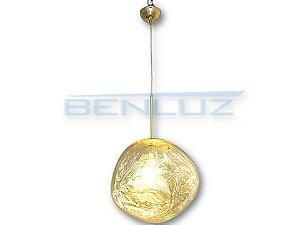 Pendente Φ28×120cm Dourado Metal+vidro Dourado E27