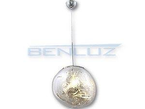 Pendente Φ28×120cm Cromado Metal+vidro Dourado E27