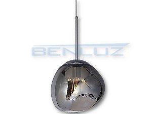 Pendente Φ28×120cm Fume Metal+vidro Dourado E27