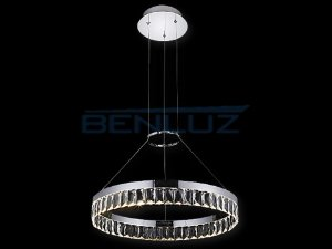Pendente Φ60cm Aluminio e Cristal LED 32W 3000k 1950lm Bivolt