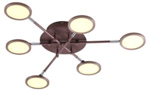 Plafon 68×68×10cm Metal Dourado Fosco Led 30W 3000k Bivolt